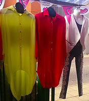 Calf length red and yellow dress shirts