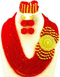 Red and Gold wide necklace and choker