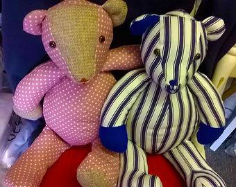 Polka dot and pyjama striped hand-sewn bears
