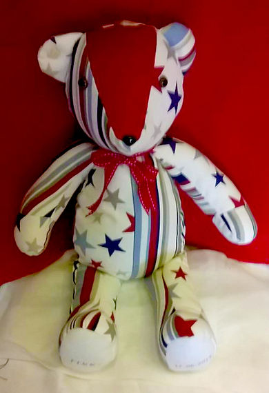 Stars and stripes hand-sewn bear