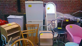 Dining chairs and a fridge