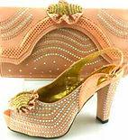Gold matching handbag and shoes
