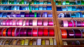 Reels of coloured ribbon