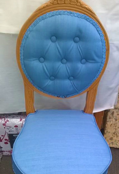 Blue upholstered occasional chair