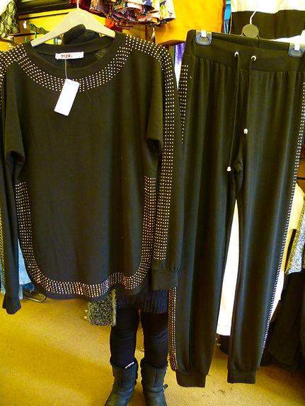 Diamanté studded black trouser suit