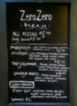 ZeroZero Pizza Menu Board