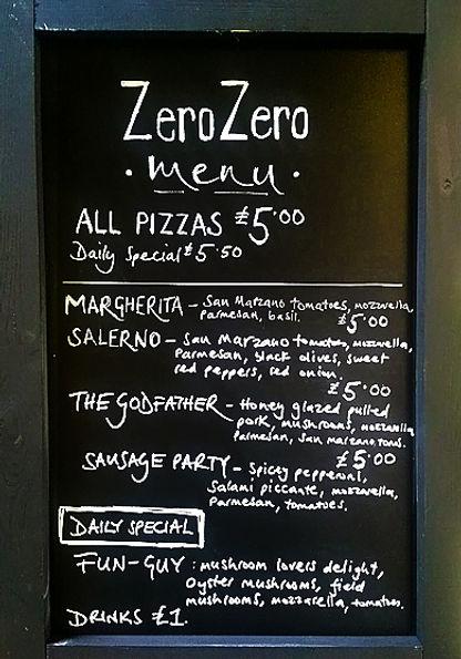 ZeroZero Pizza Menu Board