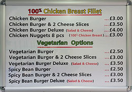 Chicken & Veggie Options Prices