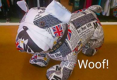 Hand-sewn bulldog soft toy