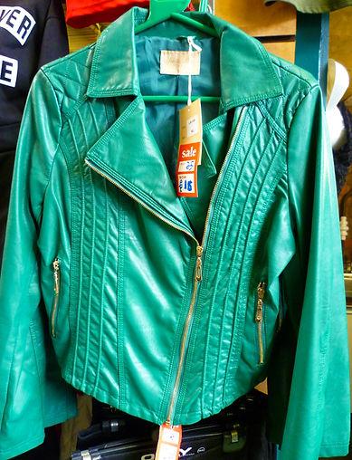 Waist length green leather jacket