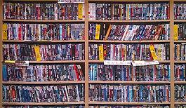 DVDs displayed on racks