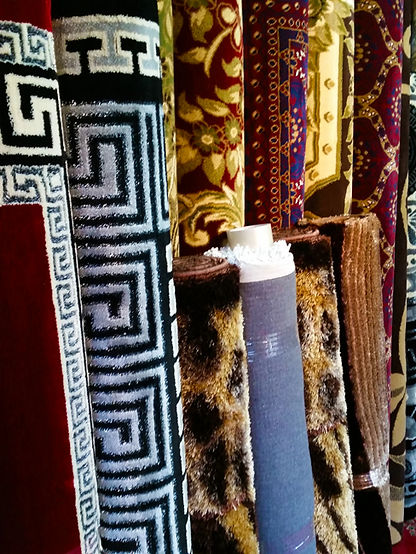 Rolled Rugs standing on end