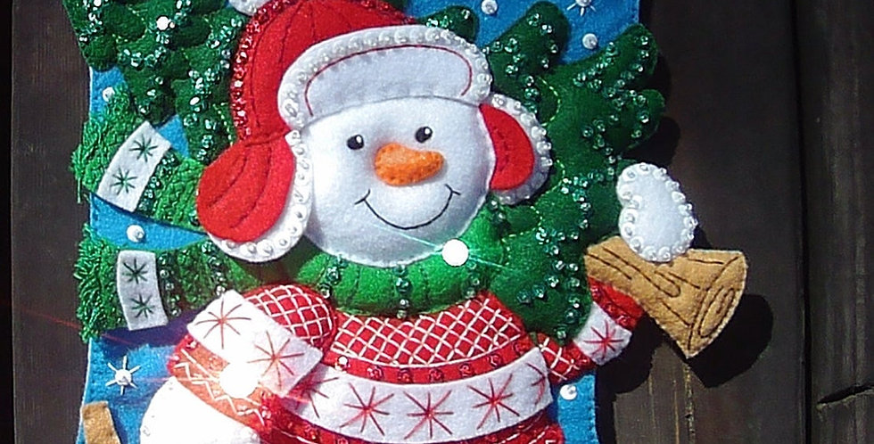 New! FINISHED Bucilla NORDIC SNOWMAN Christmas Stocking From Kit #86817