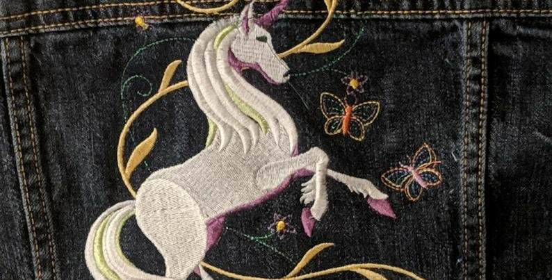 Girls Denim EMBROIDERED UNICORN Jean Jacket!