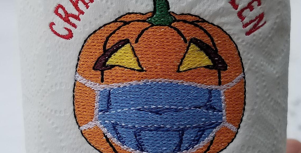 Happy Crappy Halloween Masked Pumpkin EMBROIDERED TOILET PAPER Roll