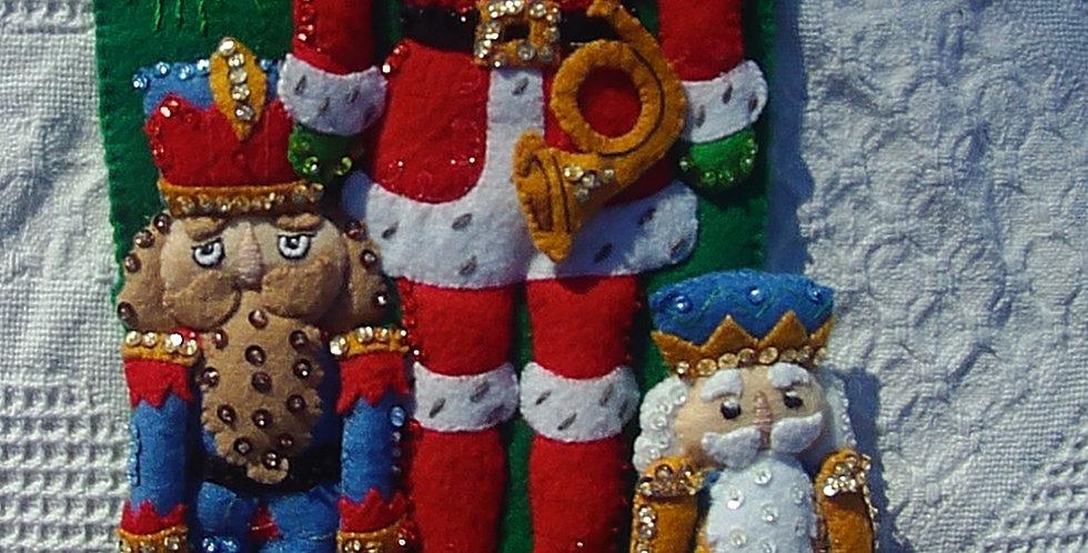 Bucilla NUTCRACKER TRIO Christmas Stocking Finished Felt From Kit 86061