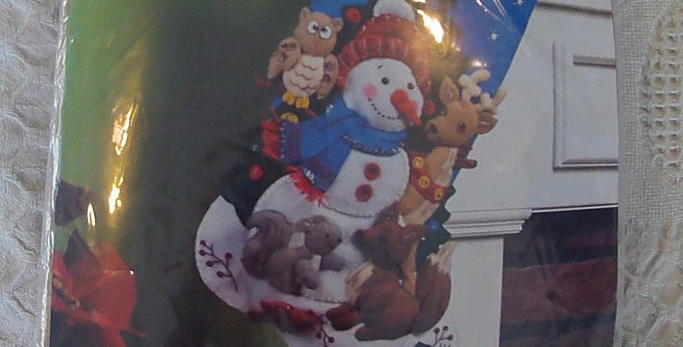 NEW Bucilla Woodland Snowman Christmas Stocking kit #86505