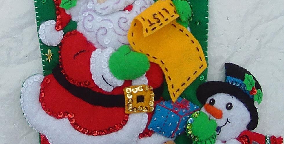 FINISHED Bucilla SANTA'S VISIT Completed Christmas Stocking Santa