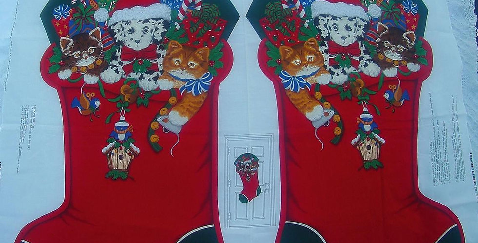 Vintage VIP Cranston Jumbo Christmas Stocking Fabric Panel Kit Christmas Friends