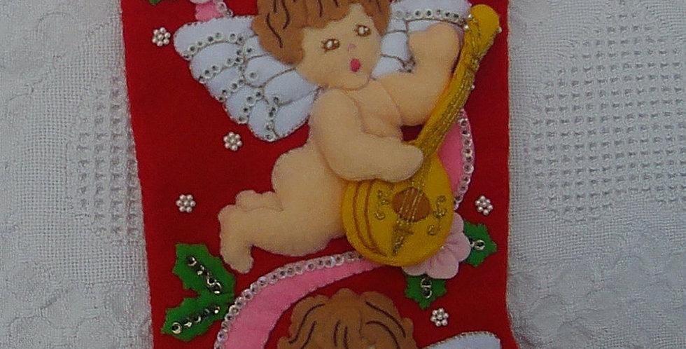 FINISHED Vintage 1991 Bucilla Felt Angel Cherubs Christmas Stocking  Kit 82903