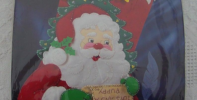 New Old Stock Bucilla DEAR SANTA JUMBO Christmas Stocking Kit #83670