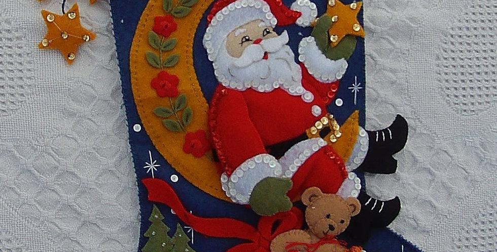 FINISHED Bucilla Moonlight Santa Christmas Stocking From Kit #86018 - Circa 2007