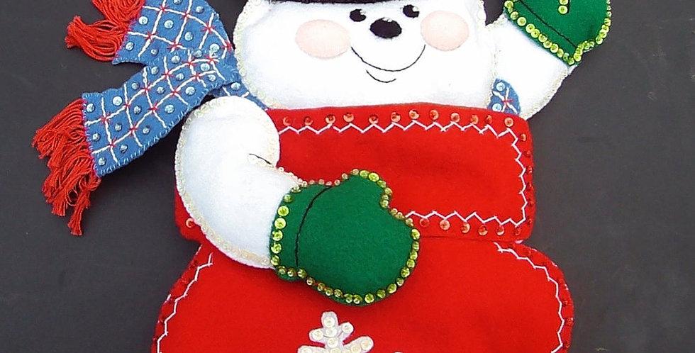 "FINISHED BUCILLA ""Snowman Mittens"" Felt Stocking - Kit #84940 - CIRCA - 2003"