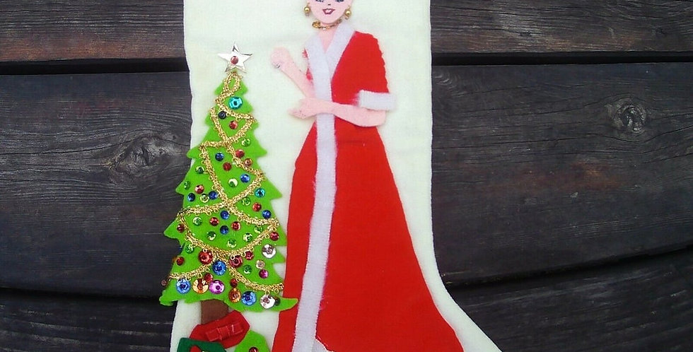 Very Rare - 1950's Edna Looney FINISHED MOM Jeweled Christmas Stocking