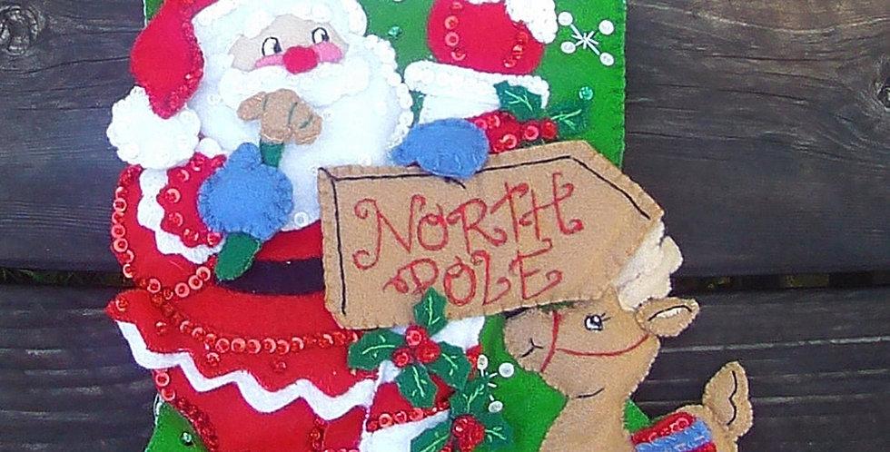 Bucilla FINISHED HANDMADE North Pole Santa Felt Christmas Stockin