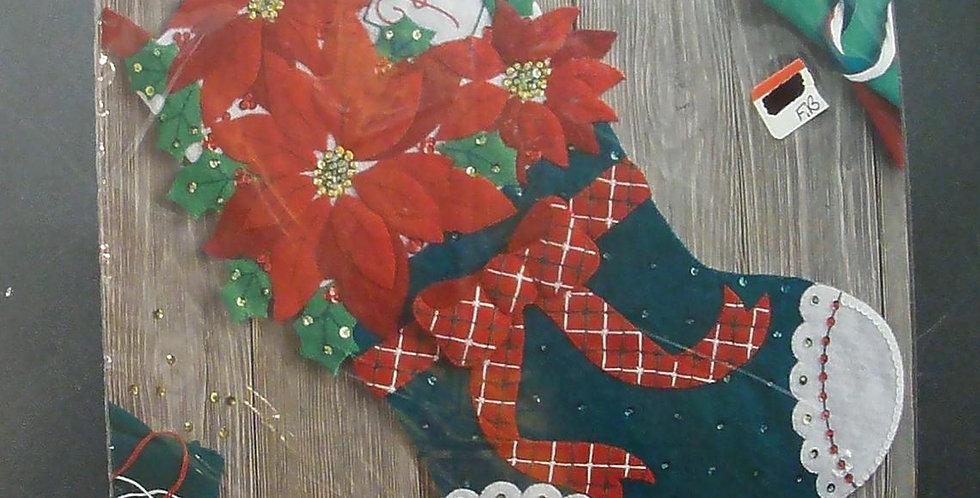 NEW! Bucilla Gorgeous Christmas Stocking Kit 86705 Poinsettias, Bow, Sequins!