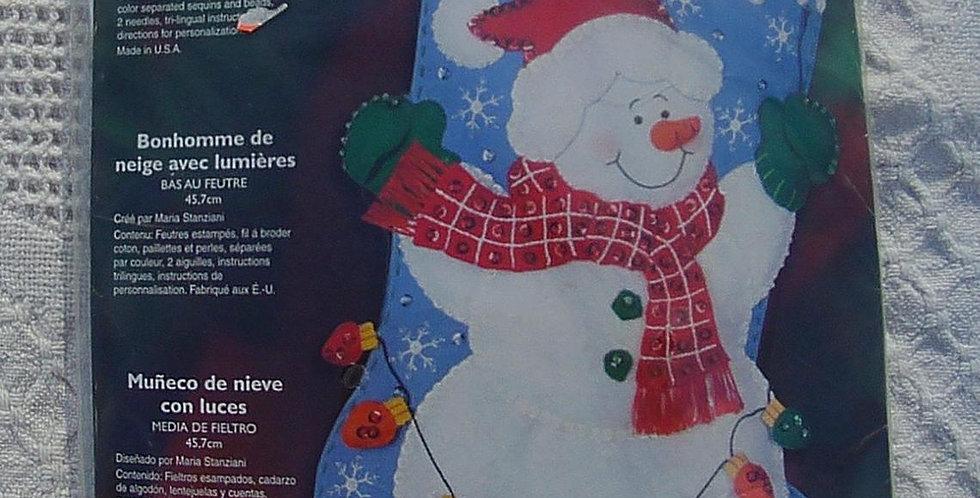 Bucilla Snowman With Lights Christmas Stocking Kit #85101 Circa - 2004