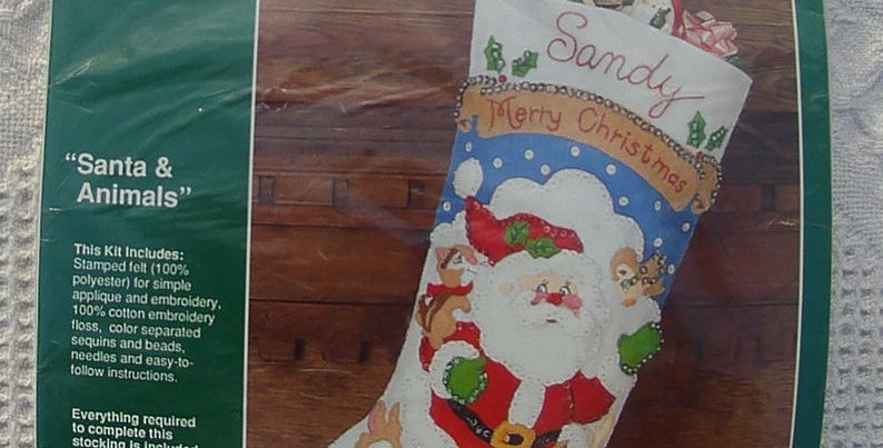 1990's Bucilla Santa & Animals Gallery of Stitches Christmas Stocking