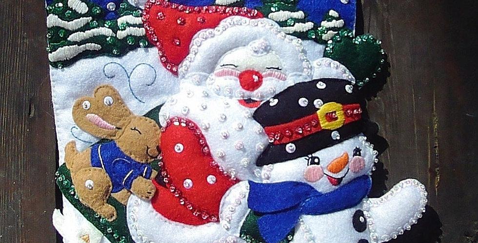 Adorable FINISHED Janlynn Christmas Fun Santa Snowman Holiday Sled