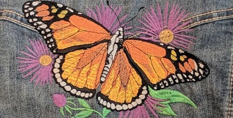 CUSTOM Monarch BUTTERFLY EMBROIDERED Denim Jean Jacket (Front & Back)