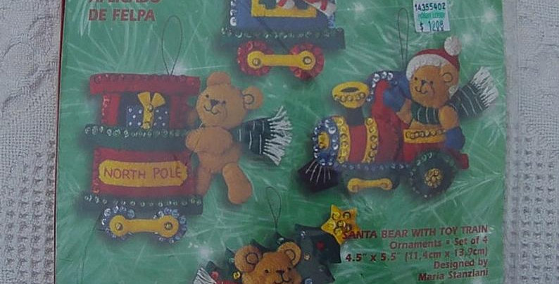 Vintage 2001 Bucilla Christmas - Santa Bear With Toy Train Ornament Kit #84438