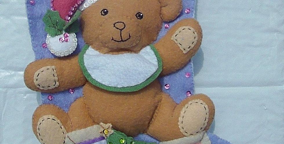 FINISHED Bucilla Baby Teddy Bear Christmas Stocking Handmade Kit 85432