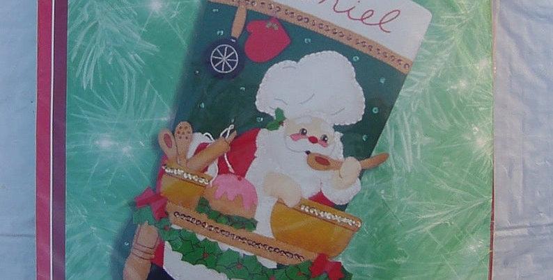 Vintage Bucilla Santa Baking Christmas Stocking kit #84342 -Chef Santa