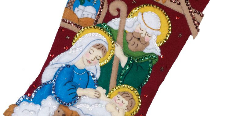 Bucilla CHRISTMAS STOCKING Nativity From Kit #86449 - 18in - Jesus is the Reason