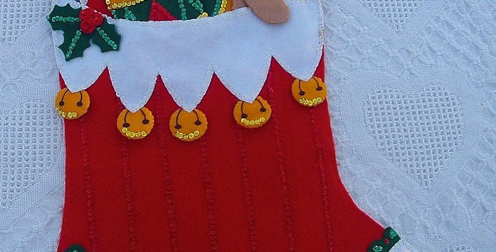 RARE Bucilla JUMBO FINISHED Christmas Stocking Kit Chock Full of Toys Kit #82913