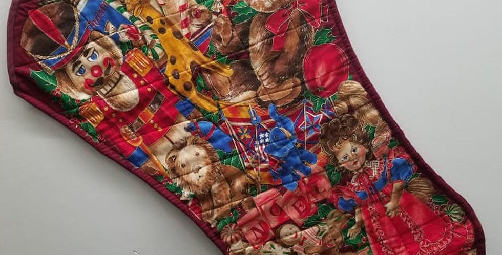 FINISHED JUMBO Toyland 34in Quilted Christmas Stocking CRANSTON Print Works Co.