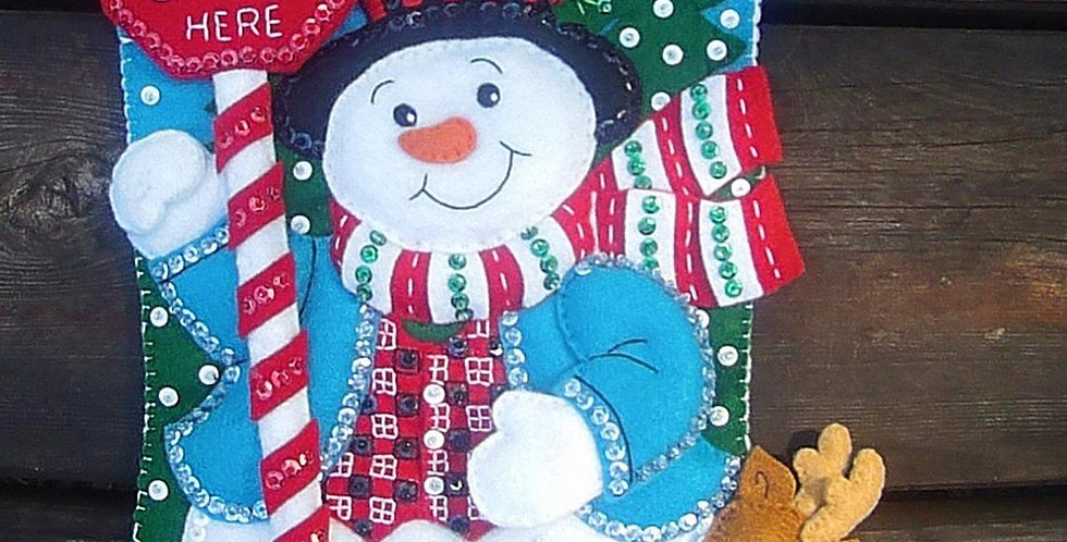 Bucilla FINISHED HANDMADE Santa Stop Here Snowman Felt Christmas Stocking