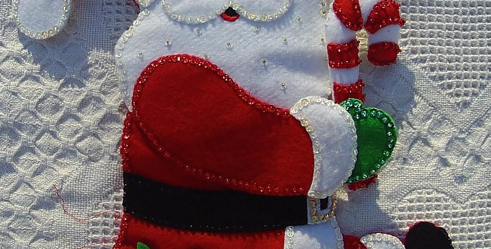 Vintage BUCILLA Candy Cane Santa Claus FINISHED Christmas Stocking Circa 1980's