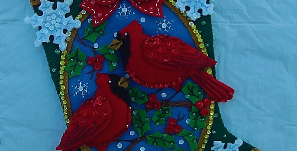 FINISHED BUCILLA Cardinals Christmas Stocking Made From Kit #86235  COMPLETED!