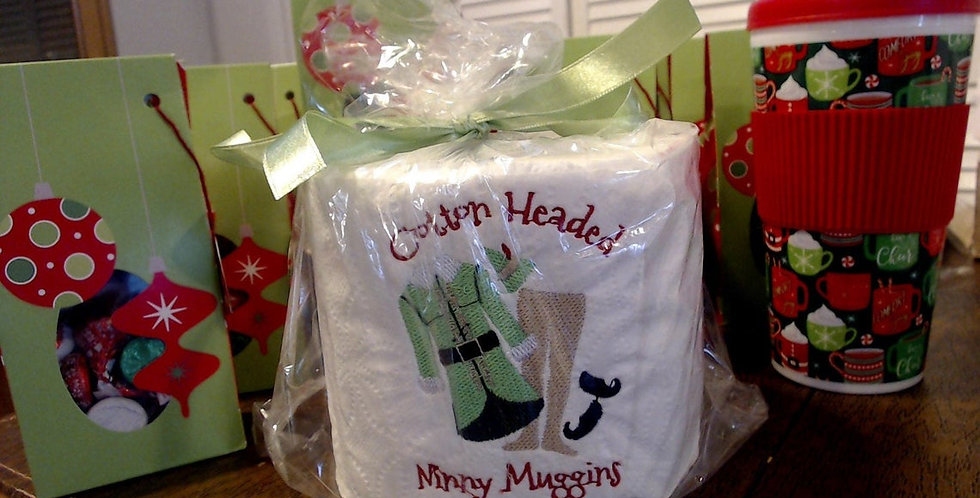 ELF Inspired Cotton Headed Ninny Muggins EMBROIDERED Toilet Paper Gift!
