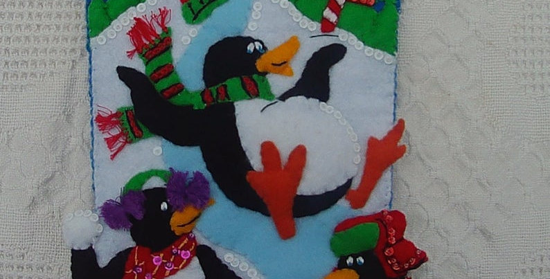 Finished Playful Penguins Completed Handmade Felt Christmas Stocking Circa 2001