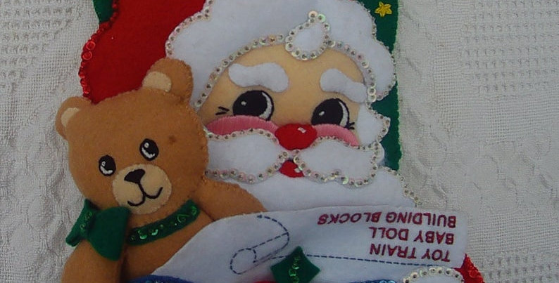 Finished Bucilla Christmas Stocking 1991 Santa & Teddy Bear From Kit #33393