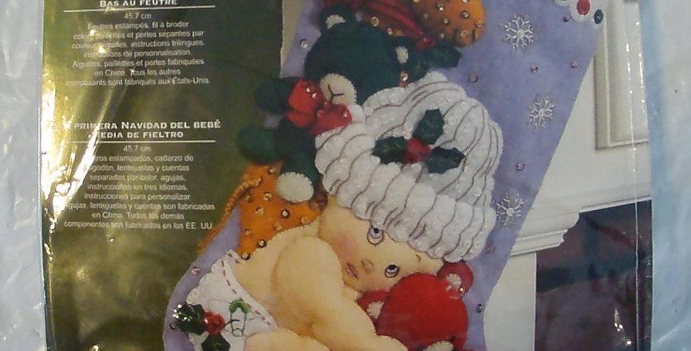 NEW Bucilla Baby's First Christmas Felt Stocking Kit #86277 Circa 2011