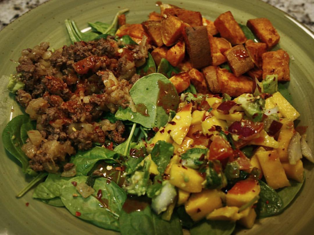 Sweet Potato & Pineapple Beef Bowl