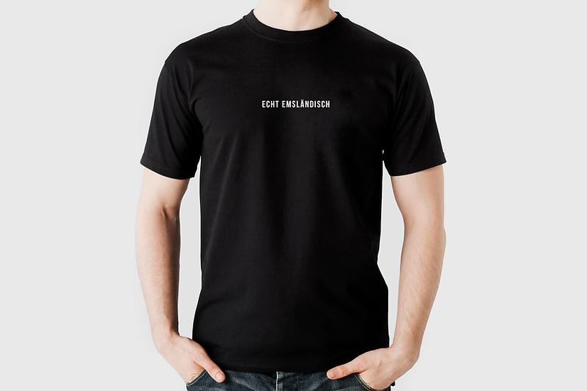 """T-Shirt """"Echt emsländisch"""", schwarz"""