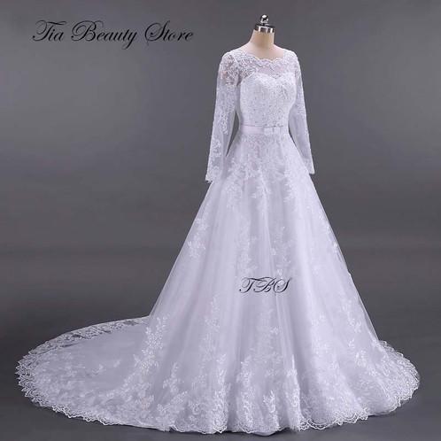 Long sleeves wedding dresses long train noiva ball gown junglespirit Images